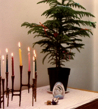 """One of our first winters... a menorah, dreidels and a """"solstice tree"""" with tiny ribbons."""